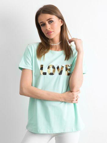 Miętowy luźny t-shirt Lovers