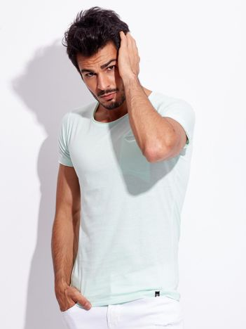 Miętowy męski t-shirt basic z kieszonką
