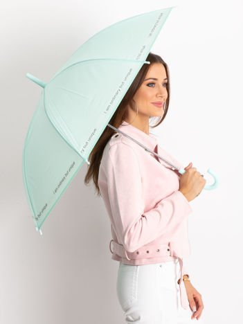 Miętowy parasol z napisem