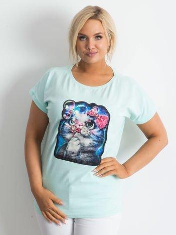 Miętowy t-shirt Adorable PLUS SIZE
