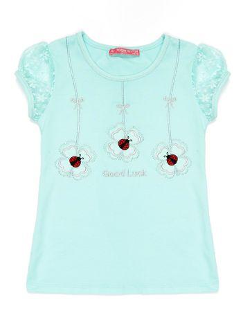 Miętowy t-shirt dla dziewczynki z biedronkami