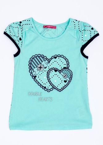 Miętowy t-shirt dla dziewczynki z sercami