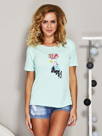 Miętowy t-shirt z cekinowym ptakiem