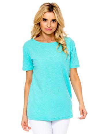 Miętowy t-shirt z głębokim dekoltem z tyłu