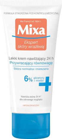 """Mixa Lekki Krem nawilżający 24h przywracający równowagę skóry 6%  50ml"""""""