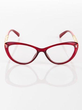 Modne czerwone okulary zerówki typu KOCIE OCZY w stylu Marlin Monroe; soczewki ANTYREFLEKS