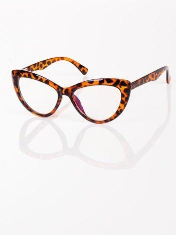 Modne okulary zerówki KOCIE OCZY leopard w stylu Marlin Monroe- soczewki ANTYREFLEKS+system FLEX na zausznikach