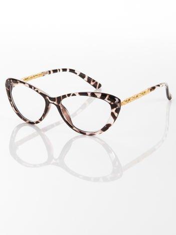 Modne  okulary zerówki typu KOCIE OCZY leopard w stylu Marlin Monroe; soczewki ANTYREFLEKS