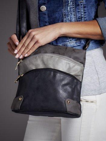 Modułowa torebka listonoszka z kieszeniami czarno-szara