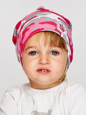 Moro czapka dziewczęca z naszywką psiej łapki różowa