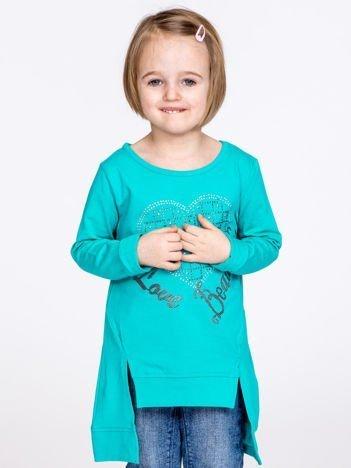 Morska bluzka dziewczęca z sercem z dżetów