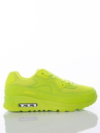 Neozielone buty sportowe z poduszką powietrzną i ażurową wstawką na przodzie cholewki