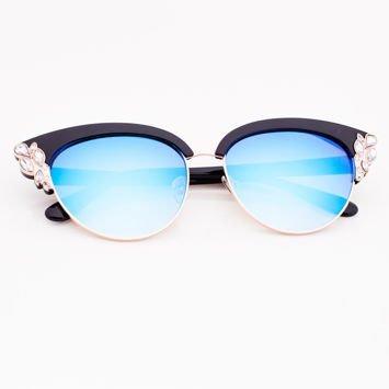 Niebiekie Lustrzane Okulary przeciwsłoneczne z Kryształami