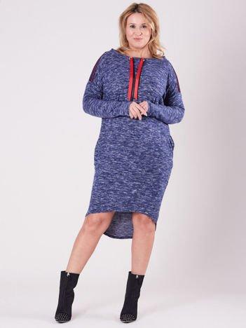 Niebieska asymetryczna sukienka PLUS SIZE