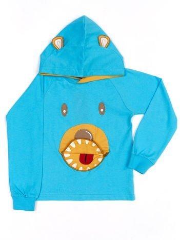 Niebieska bawełniana bluzka dziecięca z niedźwiadkiem 3D