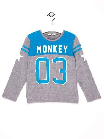 Niebieska bluzka chłopięca z napisem MONKEY 03