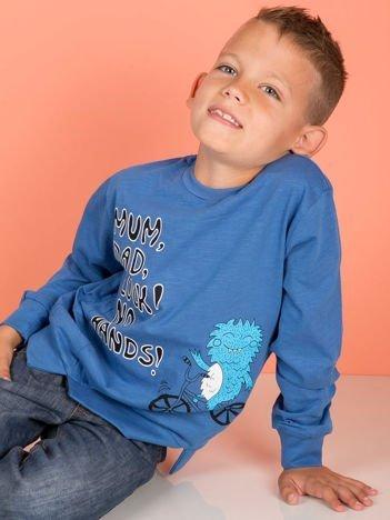 Niebieska bluzka dla chłopca z komiksowym nadrukiem