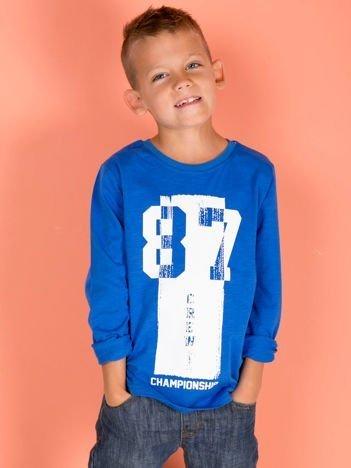 Niebieska bluzka dla chłopca z printem