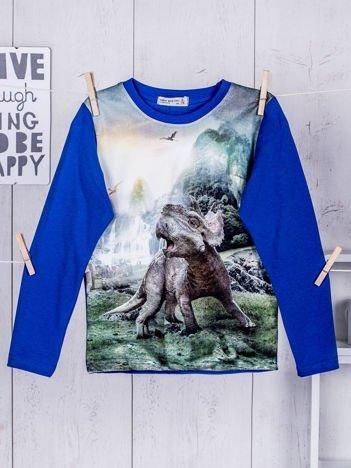 Niebieska bluzka dziecięca z nadrukiem dinozaura