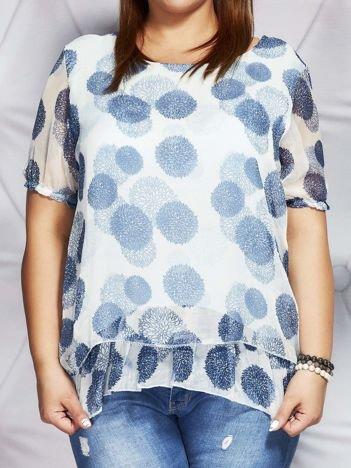 Niebieska bluzka mgiełka w kolorowe wzory PLUS SIZE