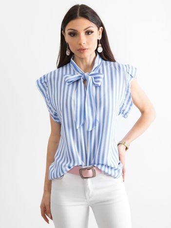 Niebieska bluzka w paski z wiązaniem