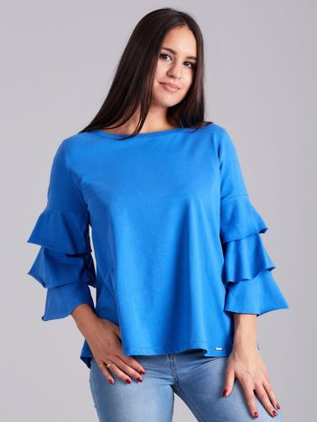 Niebieska bluzka z ozdobnymi rękawami