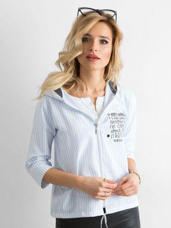 Niebieska cienka bluza w paski