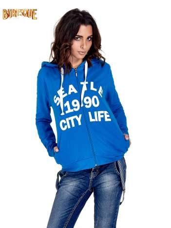 Niebieska damska bluza z kapturem i napisem SEATLE 1990