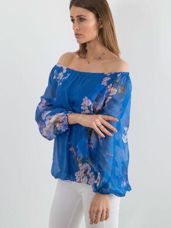 Niebieska damska bluzka hiszpanka