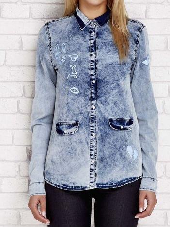 Niebieska dekatyzowana koszula jeansowa