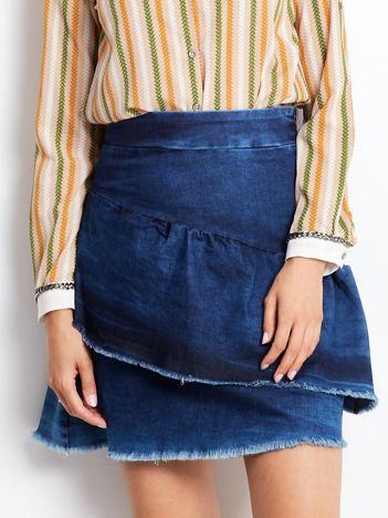 Niebieska denimowa spódnica z warstwowymi falbanami