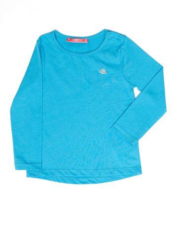 Niebieska gładka bluzka dziewczęca