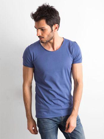 Niebieska gładka koszulka męska