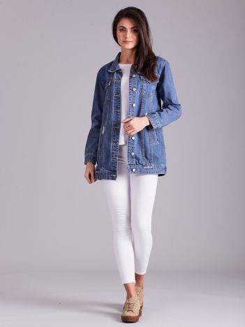 Niebieska jeansowa kurtka z przetarciami