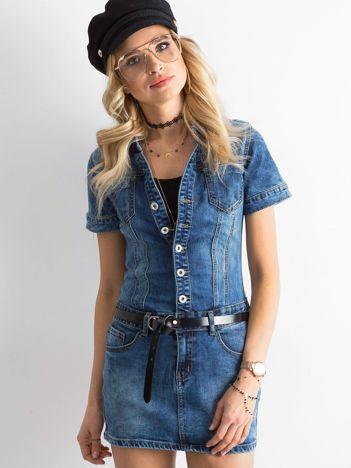 Niebieska jeansowa sukienka mini