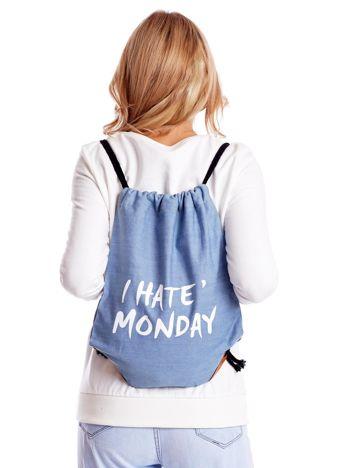Niebieska jeansowa torba worek z napisem