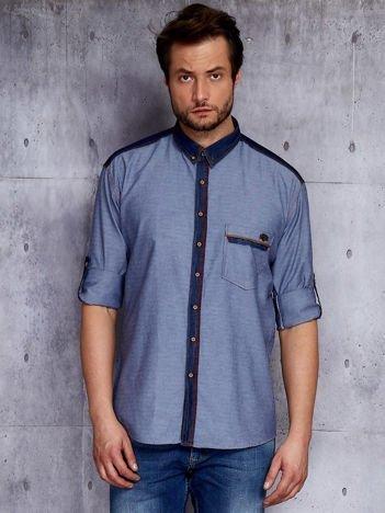 Niebieska koszula męska z przypinką na kieszonce PLUS SIZE
