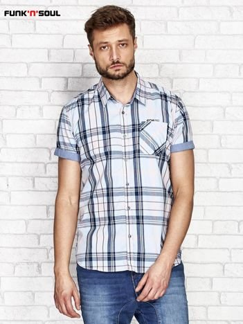 Niebieska koszula w kolorową kratę FUNK N SOUL