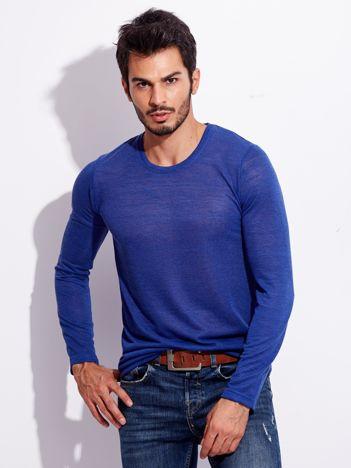 Niebieska koszulka męska basic z długim rękawem