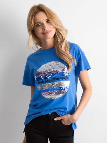 Niebieska koszulka z cekinami