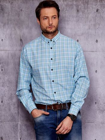 Niebieska kraciasta koszula męska PLUS SIZE