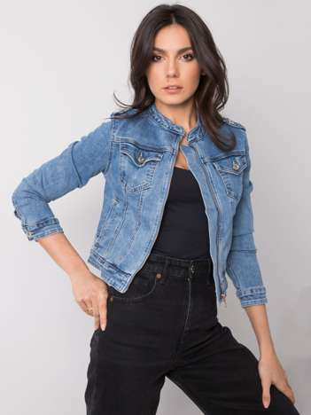Niebieska kurtka jeansowa na suwak Georgette