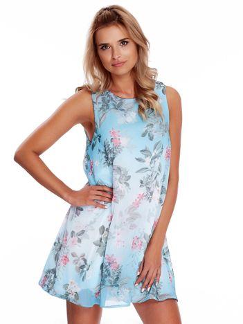 Niebieska kwiatowa sukienka