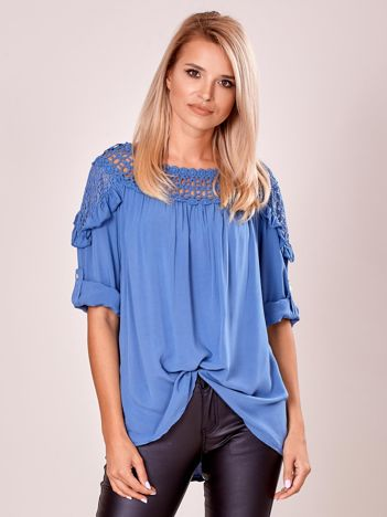 Niebieska luźna bluzka damska