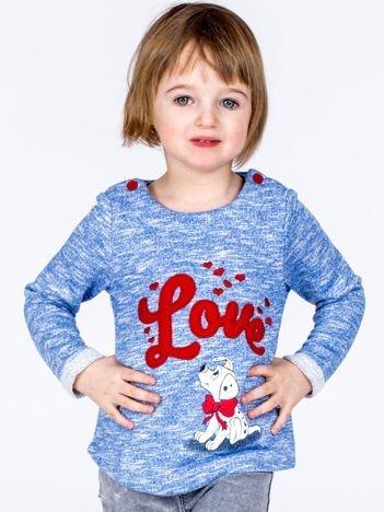 Niebieska melanżowa bluza dziewczęca z napisem LOVE i psem