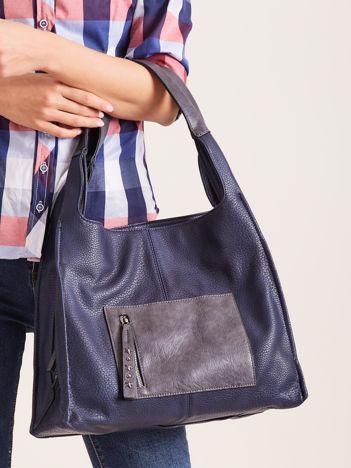 Niebieska miękka torba na ramię