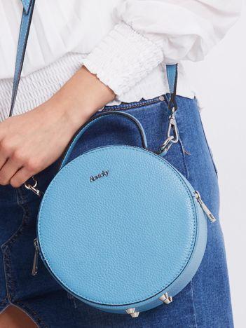 Niebieska okrągła torebka ze skóry
