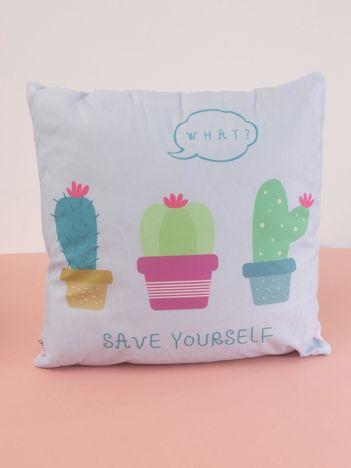 Niebieska poduszka Kaktusy