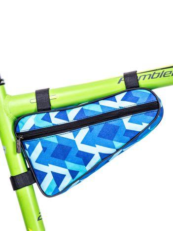 Niebieska saszetka rowerowa w geometryczne wzory