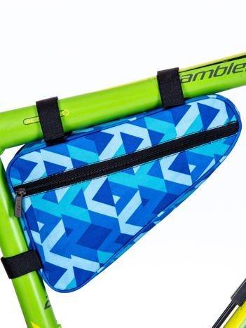 Niebieska saszetka rowerowa we wzór geometryczny